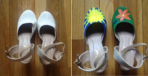 Hand painted shoes before and after